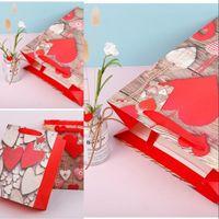 발렌타인 선물 가방 화이트 크래프트 종이 가방 심장 인쇄 된 결혼 생일 파티 호의 선물 가방 s m l 233 n2