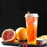 700ml / 24oz 주스 커피 밀키 티 컵 파티 결혼식을위한 일회용 플라스틱 컵 디저트 뚜껑이있는 컵 마시는 컵