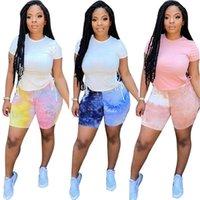 Women's Tracksuits Two Piece Set Women Summer Clothes 2021 Wholesale T Shirt Slip Hem Lace Up Top Tie Dye Shorts Sets Casual Outfits Drop