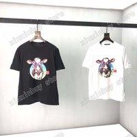 21ss 남자 인쇄 티셔츠 디자이너 장미 암소 인쇄 편지 옷 짧은 소매 망 셔츠 태그 빨간색 흰색 검정색