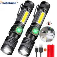 8000LM USB Şarj Edilebilir El Feneri Süper Parlak Manyetik LED Torch Cob Sideght Ile Bir Cep Klip Kamp için Yaklaşan Bir Cep Klipsi 210322