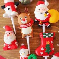 Рождественские дефекты милый 3D персонаж торт вставленные карты Санта снеговик ангел Xmas Tree Take Topper с новым годом HWD10733