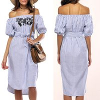 Casual Dresses Designer Stripe 2021 Embroidered Vertical Dress Tie Wrap, 5   6 Sleeve, One Line Collar, Long Skirt with Belt