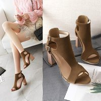 Dress Shoes Sexy Hasp Female Women Pumps Flock Buckle Strap Square Heels Peep Toe For Woman