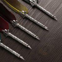 1 Set Turkey Feather Pen Quill Oblique + 5 Nibs+ Pen Set Vintage Feather Dip Fountain Quill Dip Wholesale