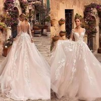 Spring Dreaming Goddess A Line Wedding Dress Feather Embroidery Sheer Back Poet Long Sleeve Luxury Romance Bridal Gowns