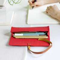 Harphia BUY 2 GET 3 Portable Stape Felt Pencil Bag Wool Pen Case Creative School Makeup Capacity Supplies Office Pouch Bags
