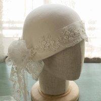 Geniş Ağız Şapkalar 202101-Anran-Hy353 Bahar Süt Beyaz Yün Zarif Dantel Çiçek Şerit Ünlü Düğün Bayan Güneş Kap Kadın Yemeği Şapka