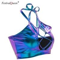FestivalQueen Parlak Holografik Metalik Renk Tankı Tops Seksi Ince Backless Halter Sokak Giyim Kırpma Üst Kadınlar Için 210319