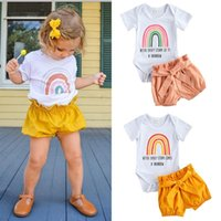 Clothing Sets 0-24m Baby Girls 2pcs Clothes Set Rainbow Print Short Sleeve O-Neck Jumpsuit Solid Color Pants Toddler Summer