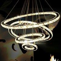 Modern Big Landeliers LED Crystal 4 Anneaux Lustre Lustre Landes Suspension Lumiere Cercles Lampe pour l'escalier intérieur Bar Draplight Salon Corridor Hotel Hall Dhl