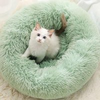Kennels & Pens Dog Round Cat Winter Warm Sleeping Bag Long Plush Soft Pet Bed Calming Mat Blanket Nest Solid 10 Colors 20Jan3