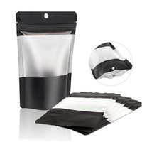 Black Mylar Self seal Bag Smell Proof Food Storage Bags With Clear Window Resealable Mylar Bags Foil Pouch Bag Retail packaging Bags LX4327