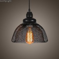 Подвесные светильники ретро винтажный стиль светлый железо сетчатая кухонная барная лофт тень в черном отделке современный промышленный Edison подвесные светильники