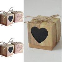 Caja de dulces Romántico Corazón Kraft Bolsa de regalo con arpillera Twine Chic Favores de boda Favores de regalo Suministros de caja OK YAS 179 V2