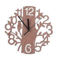Round Sun Shape Roman Digital Wall Clock Creative Wooden Tree For Bedroom 2 Type Clocks