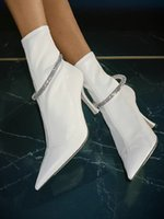 Famous Design LEROY Ankle Boots Pointed Toe Sock Boot Black White Crystal Embellishment High Heels Party Wedding Fashion Booty EU35-43