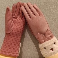 Five Fingers Gloves Lovely Cartoon Touch Screen Nonslip Driving Women Winter Suede Leather Plus Velvet Thick Cycling Warm Mittens D92
