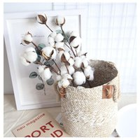 Decorative Flowers & Wreaths Pure Natural Dried Cotton Flower Stem Farmhouse Man Artificial Home Wedding Decoration DIY Fake Plant Po Prop D