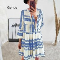 Geometric Print Boho Women Beach Dress V- neck Bell Sleeve Bo...