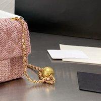 Designer Raffia Stroh Crossbody Umhängetasche Frauen Luxurys Designer Taschen 2021 Paris Marke Diamant Gitter Flagge Handtaschen Goldener Ball Einstellbare Kette Mini Handtasche