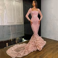 Square Neck Long Sleeves Beaded Crystal Mermaid Evening Dresses Court Train Full Formal Prom Gowns Special Occasion