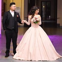 2022 Ball Evening Dresses Off Shoulder Lace Long Sleeves Sweep Train Bow Party Prom Gowns
