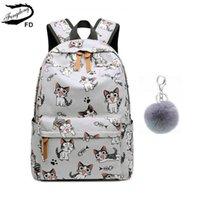 Fengdong School Bags for Teenage Girls Bag Niños Mochilas Cute Animal Lámina Mochila Mochila Niños Cat Bag Pack 210827