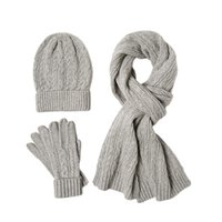 Hats, Scarves & Gloves Sets Women Men Gift Winter Warm Daily Outdoor Sports Skiing Windproof Cable Knit Solid Soft Casual Snowboarding Scarf