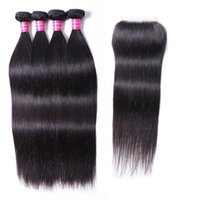 Wholesale 4 Bundles Virgin Indian Hair Weave Straight Body Deep Curly Natural Black Color Unprocessed Human Hair Weave 10-30 inch 4 Bundles with Closure 4x4