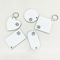 Puppy Keychain Party Favoriser la sublimation MDF Porte-clés pour femmes Paille Imprimer Keychains en bois Creative Dog Tag FWA7672