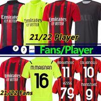 2021 AC Milan versão Torcedor jogador Camisa de futebol Mandzukic Soccer Jerseys Balr 20/21 milan IBRAHIMOVIC TONALI ÇALHANOGLU Kessie Homens crianças kits Camisas de futebol