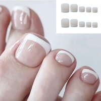 Falska naglar 24pcs Classic French Square Toes Nude Nature Fake Exquisite Feet Tips Professionell Faux Drop