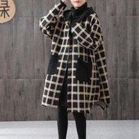 Johnature Women Plaid Yellow Vintage Parkas Irregular Hooded Coats 2020 Autumn New Button Pockets Female Chinese Style Parkas