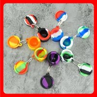 Nonstick wax containers silicone box Smoking Accessories bag 6ml silicon jars dab tool Stash storage oil Rigs rubber holder with good keychain