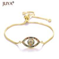 Juya Design 2021 Handmade Copper Inlaid Color Rhinestone Evil Eye Turkish Bracelets Women Femme Jewelry Bileklik Bayan Link, Chain