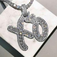 Bling буквы кулон ожерелье AAA Zircon сердца XO знаменитости стиль мужские ожерелье мода рэп хип-хоп ювелирные изделия 210323