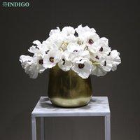45 unids +1 Metal Pot Blanco Anémona Bonsai Bouquet Mesa Decoración Boda Flor artificial Floral Fiesta de evento - Flores decorativas Guirnaldas