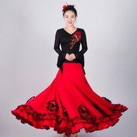 Red Ballroom Falda de baile Mujeres Flamenco Elegante traje de vals Vestido español Disfraz de escenario EXTOICO EXTOICO JL2493