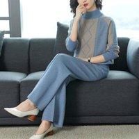 여성용 Tracksuits 2021 가을 여자 패션 라운드 넥 스웨터 + 와이드 레그 바지 니트 정장 숙녀 2 개 세트 Twinset 2 PCS Y218
