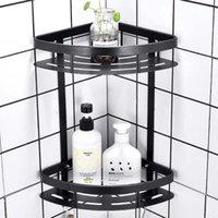 Bathroom Shelves For Shampoo Soap Cosmetic Basket Holder 2 Layer Shower Shelf Corner Aluminum Triangular Rack Storage Organizer