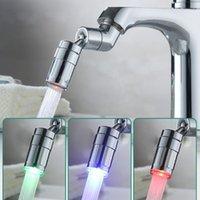 Otros grifos, duchas ACCS ACCS Rotating Splash a prueba de agua Grifo de agua LED Cambio de color Cambio de color Diferador de fregadero Aeroador Transporte Tap Boquilla Hea