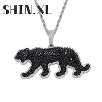 Cartoon Animal Leopard Necklace Pendant Iced Out Zircon Gold Silver Plated Mens Bling Jewelry