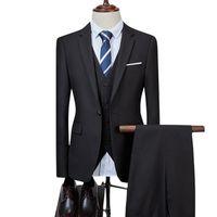 Men's Suits & Blazers 2021 Fashion Business Casual Suit Three-piece Set   Male Groom Wedding Solid Color Jacket Coat Pants Vest