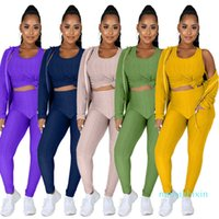 Plus Size Clothing Women Tracksuits Sport Suit All And Winter Hooded Zipper Sweater Yoga Pants Sports Three Piece Set + Vest