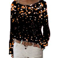 Bischan Damen-Stern-Druck-T-Shirt Rundhals-Langarm-T-Shirt Frauen Freizeit-Hemd Frühling und Herbst Frauen-Hemd 210603