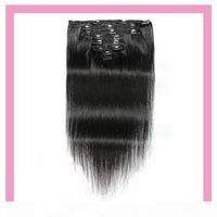 Extensões de cabelo virgens humanas peruanas 8-24inch clipe retro de seda em extensões de cabelo cor natural 120g clipes de cabelo em linha reta produtos