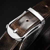 Belts Plyesxale Fashion Trend Pin Buckle Belt For Men 3.3cm Width Mens Jeans Cow Leather Casual Waist Strap B1001