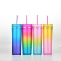 Gradiente Acrílico Skinny Tumbler 16oz / 450ml plástico arco-íris cor copo magro com tampa e canudos cilindro de garrafa de água mar owb9795
