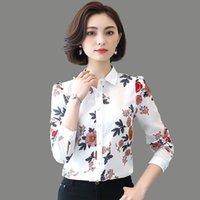 قمصان البلوزات النسائية المرأة بلوزة شيفون قميص بأكمام طويلة مطبوعة حجم كبير blusas روبا دي موهير